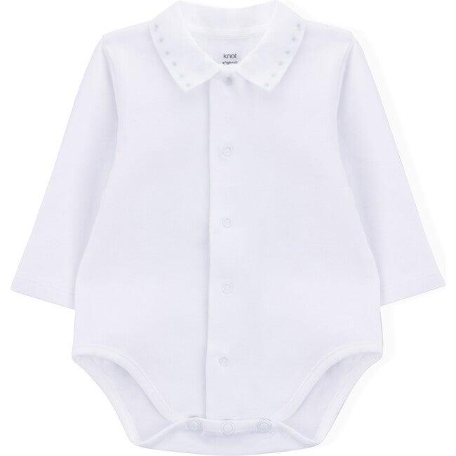 Long Sleeve Body Newborn Little Squares, White