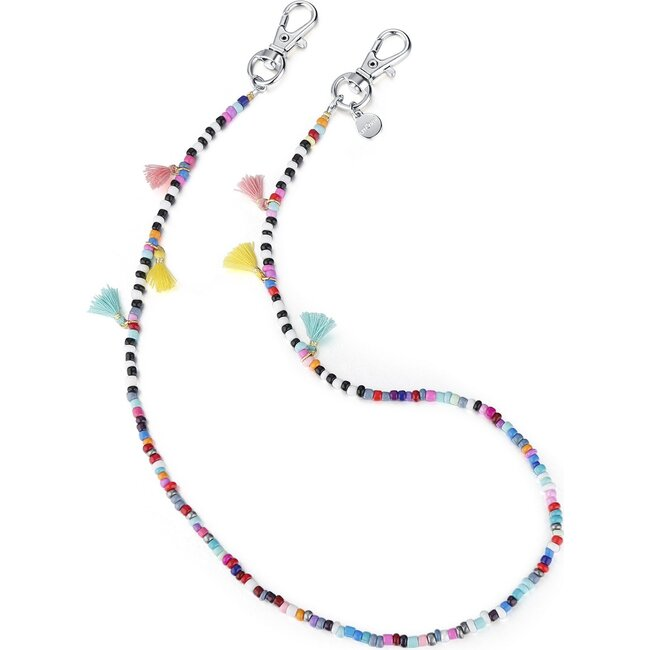 """20"""" Bead Necklace & Mask Chain, White"""