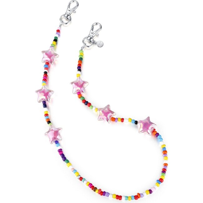 """20"""" Bead Necklace & Mask Chain, Pink"""