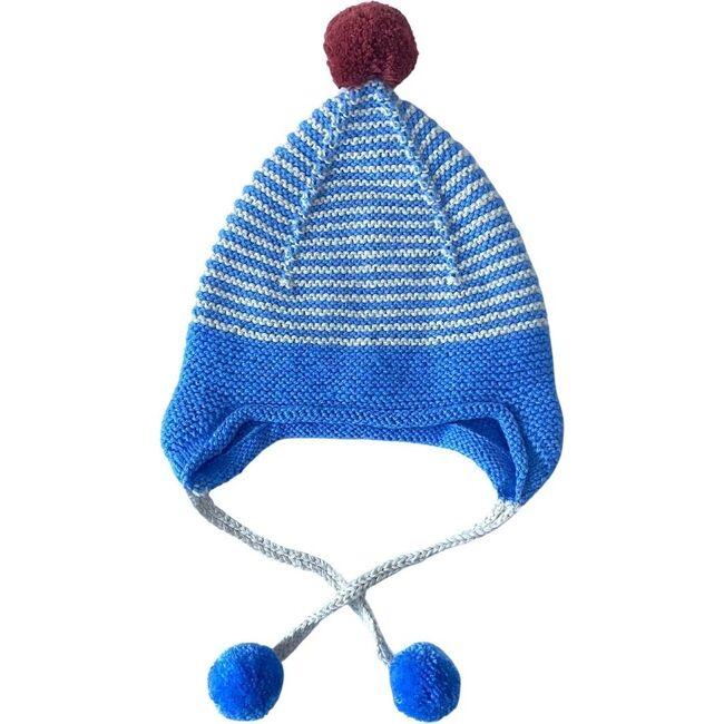 Pom Ear String Hat, Sky/Rust