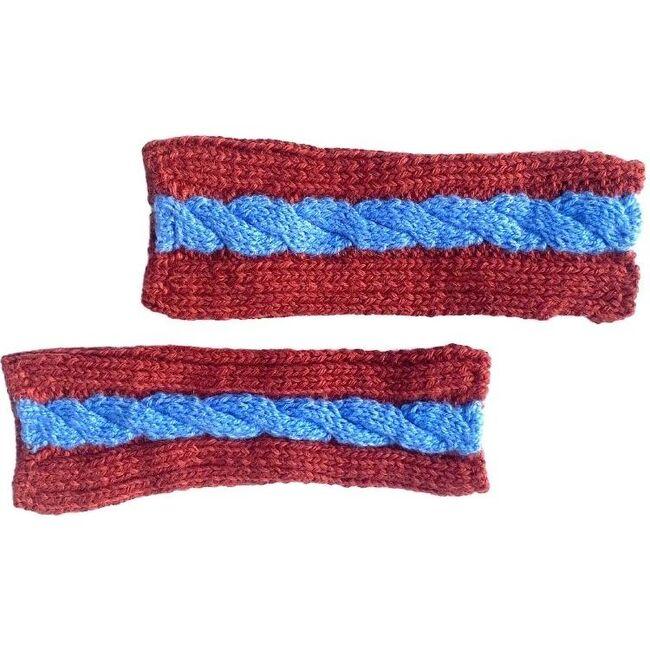Fingerless Multi Cable Gloves, Rust/Sky