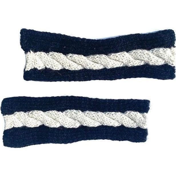Fingerless Multi Cable Gloves, Black/Ivory