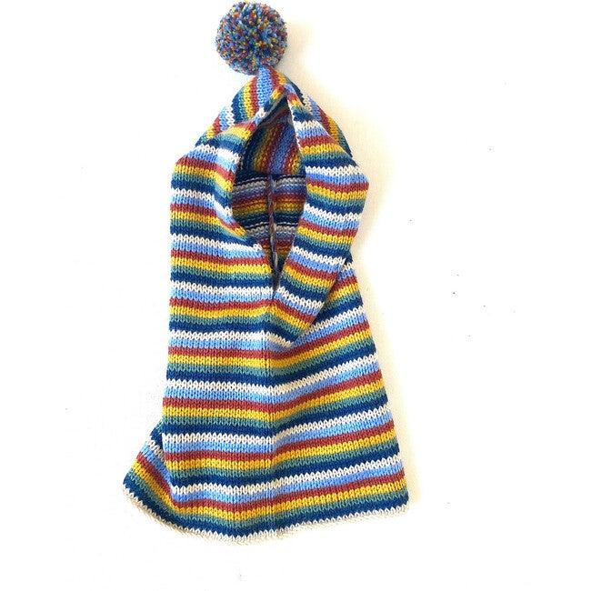 Pom Snood, Rainbow Stripes - Hats - 1