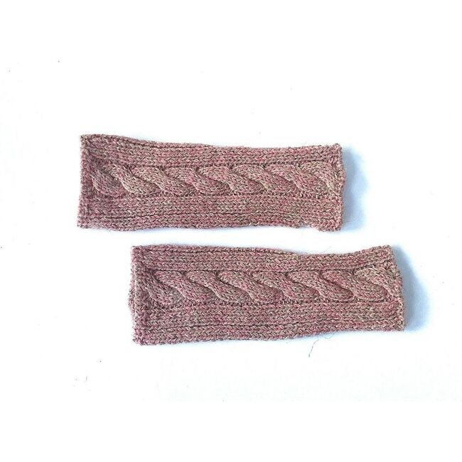 Fingerless Cable Glove, Speckled Powder Pink