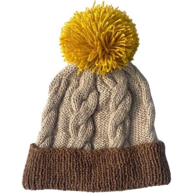 Cable Pom Hat, Marron