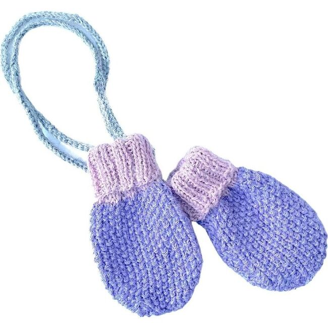 Baby Mittens With String, Lavendar