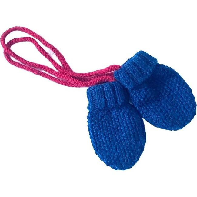Baby Mittens With String, Blue Azul