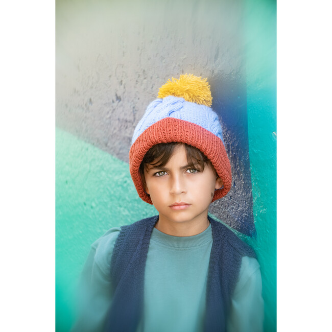 Cable Pom Hat, Sky