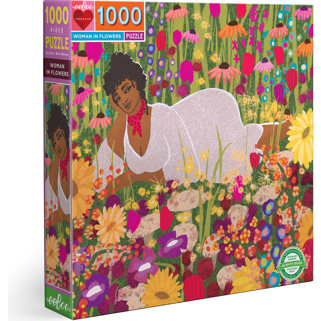 Woman in Flowers 1000 Piece Square Puzzle