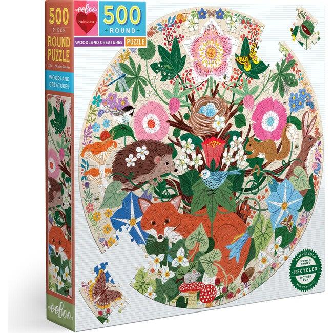 Woodland Creatures 500 Piece Round Puzzle