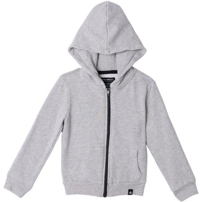 Zip-Up Hooded Jacket, Heather Grey