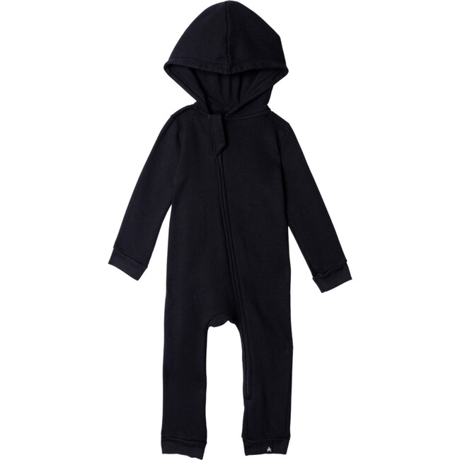 Lush Asymmetric Zip Hooded Romper, Black