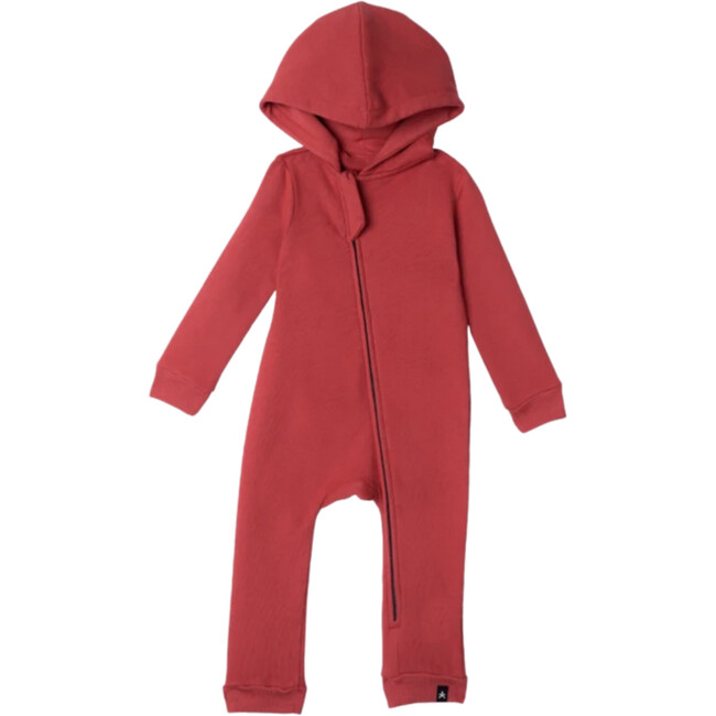 Lush Asymmetric Zip Hooded Romper, Crimson