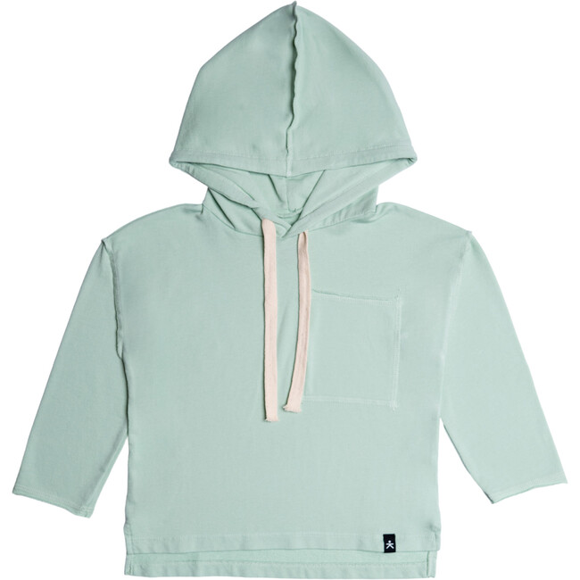 Drop Shoulder Hooded Pullover, Ocean