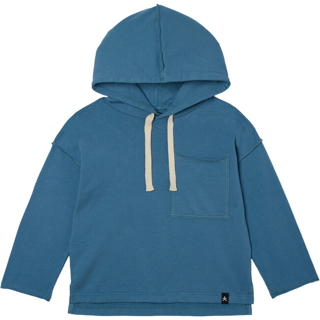 Drop Shoulder Hooded Pullover, Dusty Navy