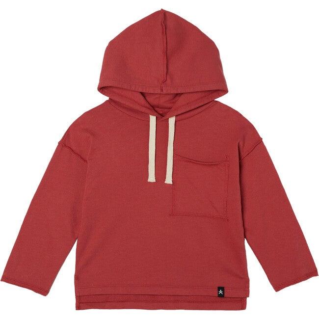 Drop Shoulder Hooded Pullover, Crimson