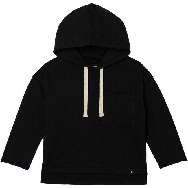 Drop Shoulder Hooded Pullover, Black