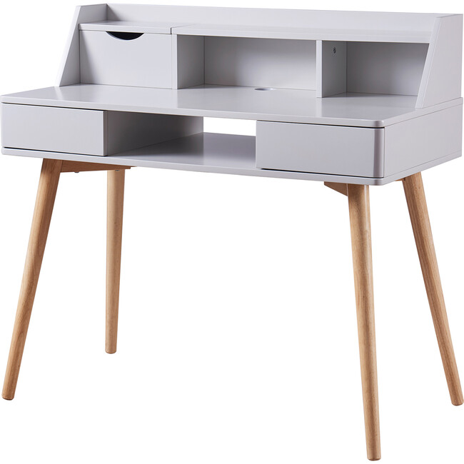 Creativo Wooden Writing Desk with Storage, Light Gray/Natural