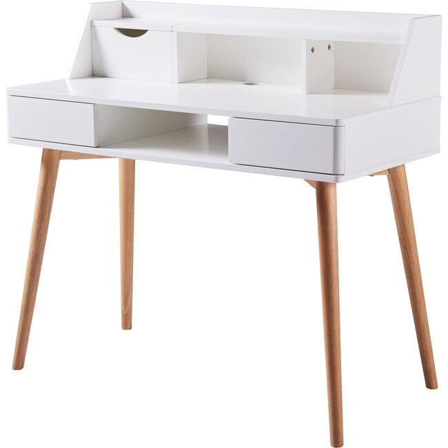 Creativo Wooden Writing Desk with Storage, White/Natural - Desks - 1