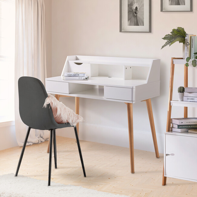 Creativo Wooden Writing Desk with Storage, White/Natural