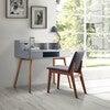 Creativo Wooden Writing Desk with Storage, Light Gray/Natural - Desks - 6