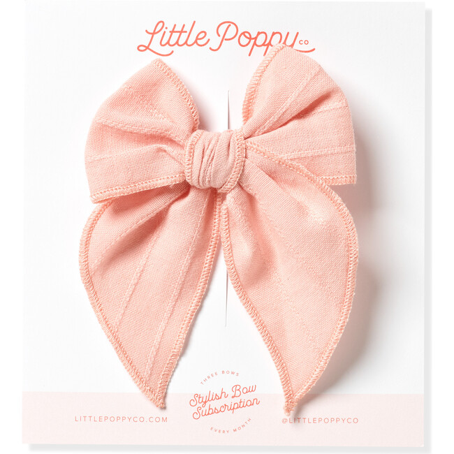 Original Embroidered Stripe Claire Bow, Rose Pink