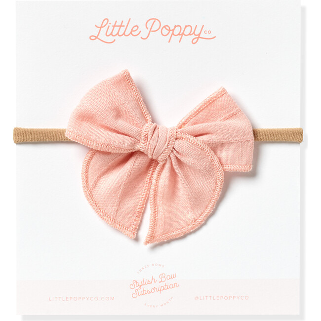 Mini Embroidered Stripe Claire Bow, Rose Pink