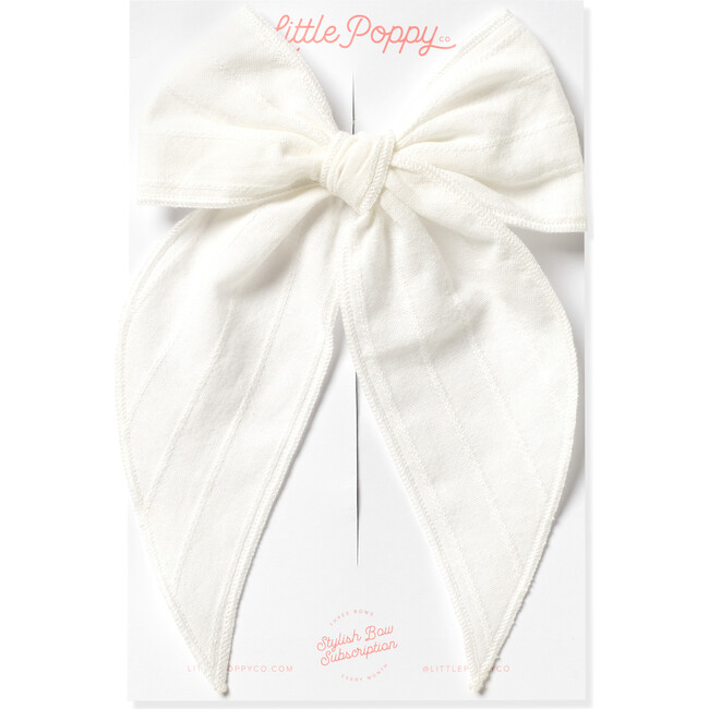 Oversized Embroidered Stripe Claire Bow, White