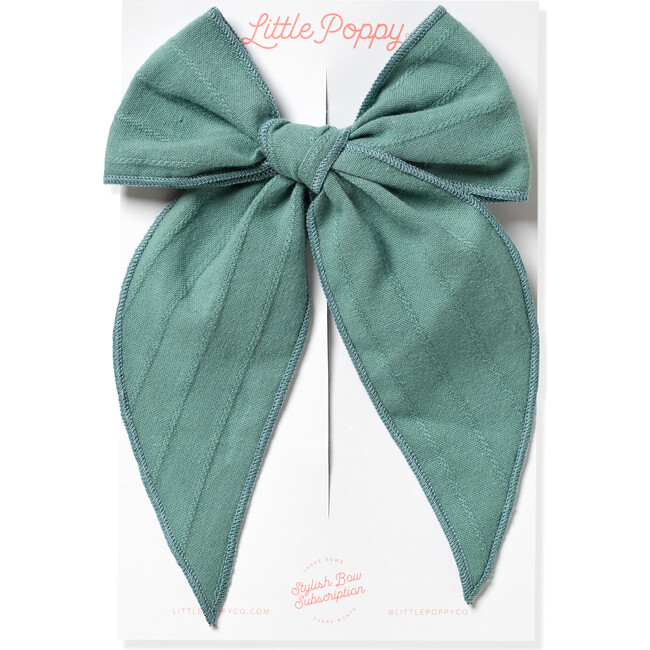 Oversized Embroidered Stripe Claire Bow, Teal