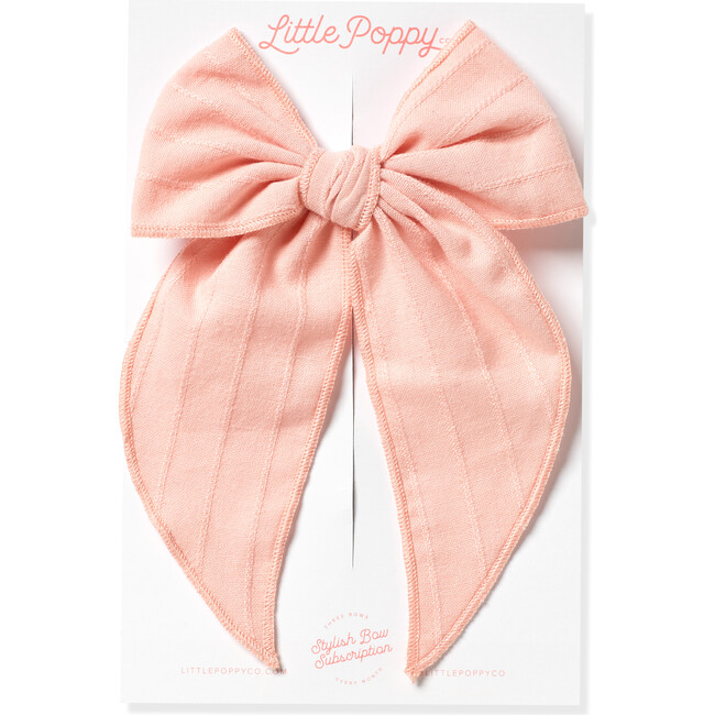 Oversized Embroidered Stripe Claire Bow, Rose Pink