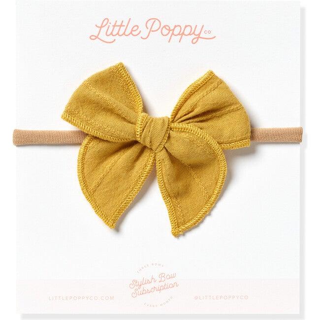 Mini Embroidered Stripe Claire Bow, Mustard