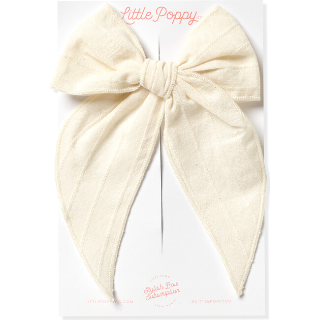 Oversized Embroidered Stripe Claire Bow, Cream