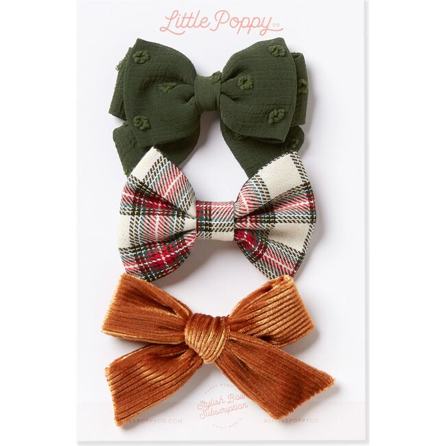 The Charlie Three Bow Oversized Clip Set, Multi