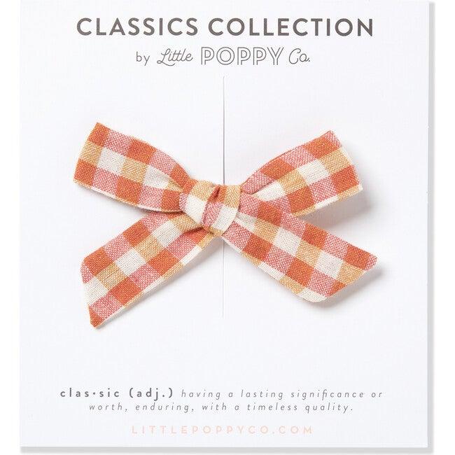 Orange Gingham Original Clip Bow, Orange