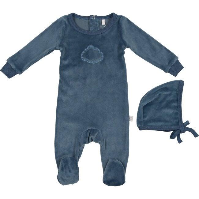 Velour Footie Bonnet, Blue