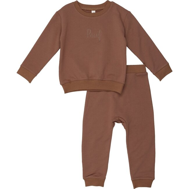 Pouf Embroidered Sweatsuit, Brown
