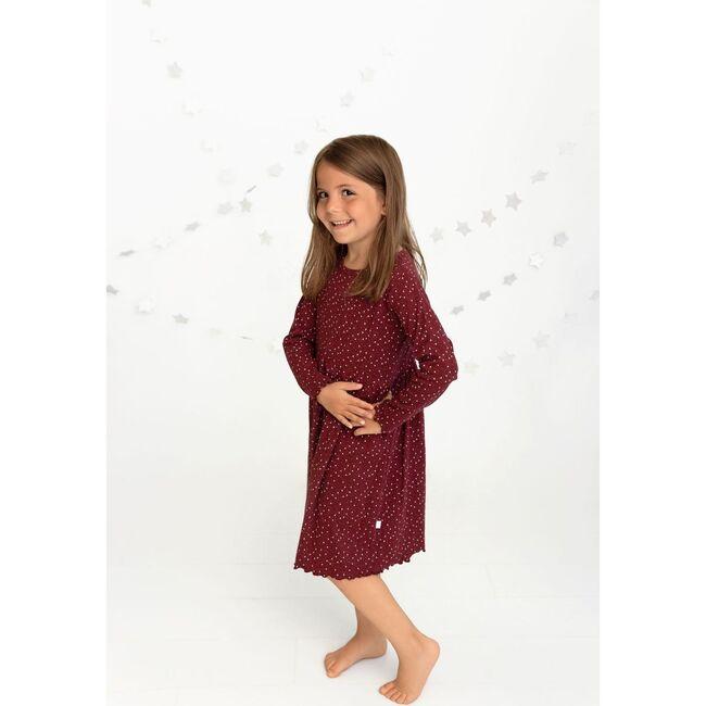 Star Print Dress, Maroon
