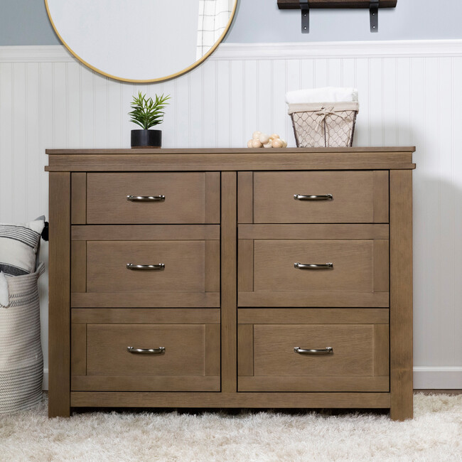Wesley Farmhouse 6-Drawer Assembled Double Dresser, Stablewood