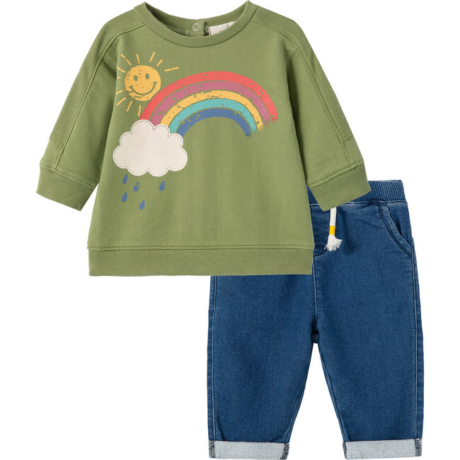 Rain And Sun Sweatshirt Set, Green