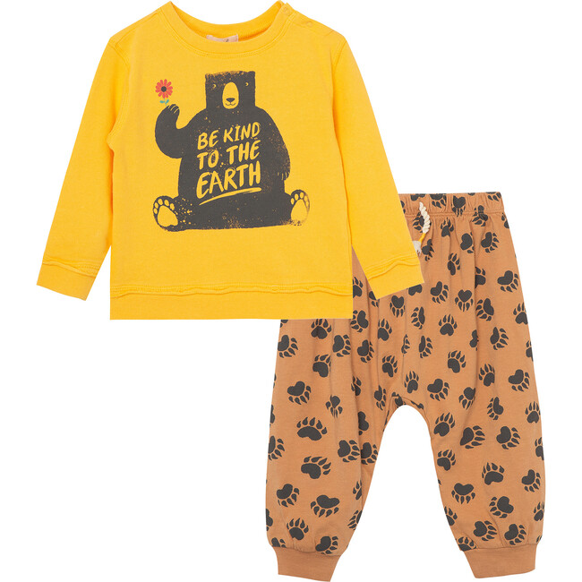 The Nature Conservancy X Peek Bear In Woods Pant Set, Yellow