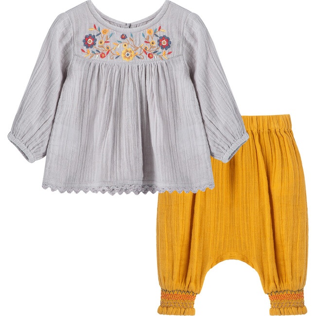 Woven Embroidered Pant Set, Grey