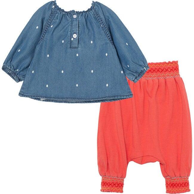 Embroiderey And Dots Pant Set, Indigo