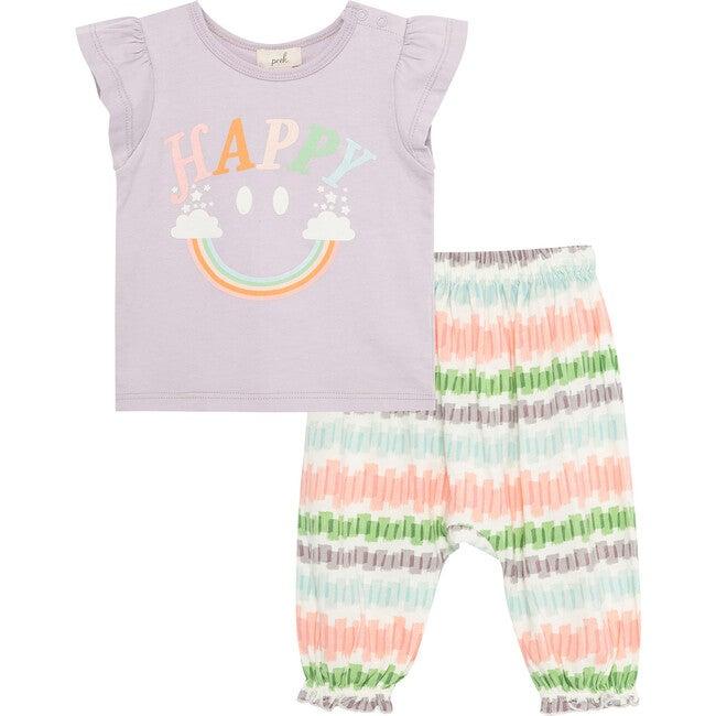 Happy Rainbow Pant Set, Lavender
