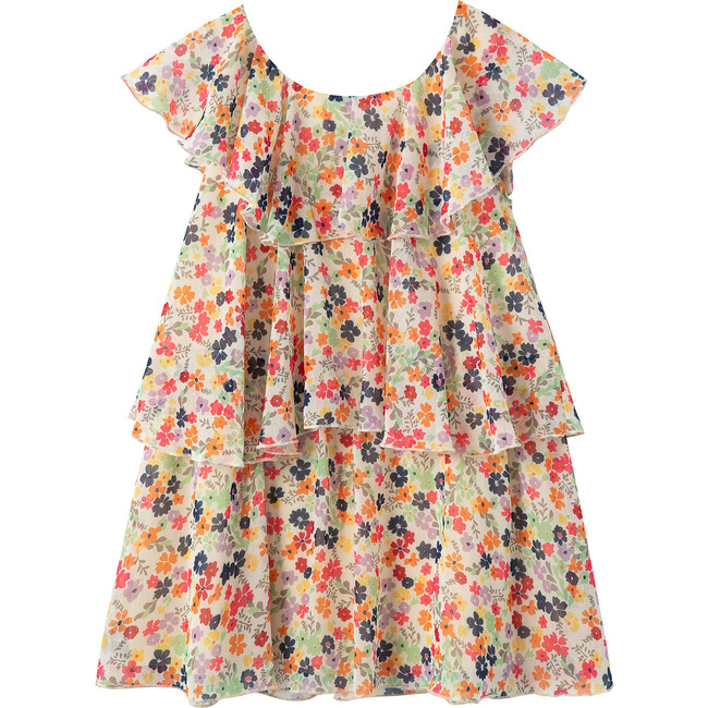 Tiered Floral Dress, Print
