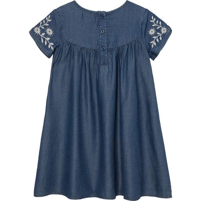 Embroidered Dress, Indigo