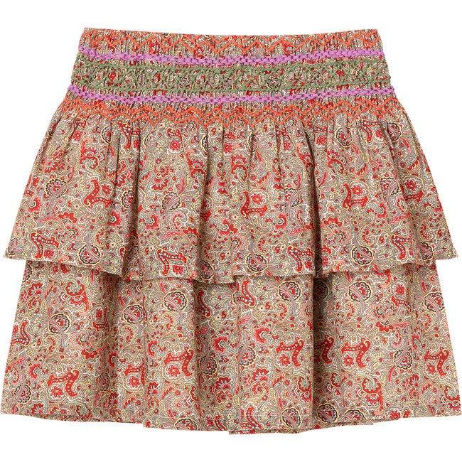 Smocked Floral Skirt, Print