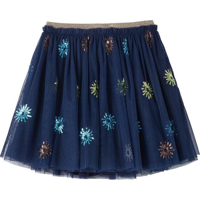 Sequin Burst Skirt, Navy