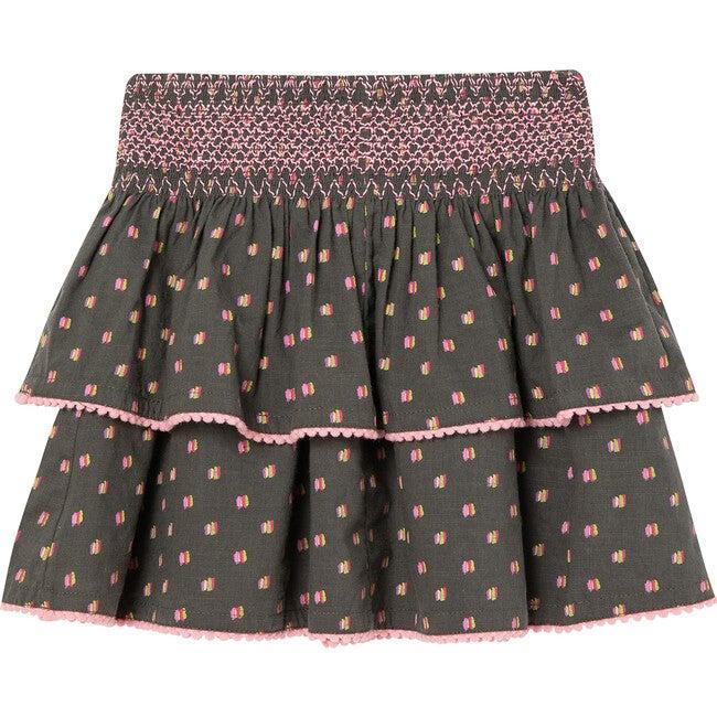 Smocked Pixie Skirt, Grey
