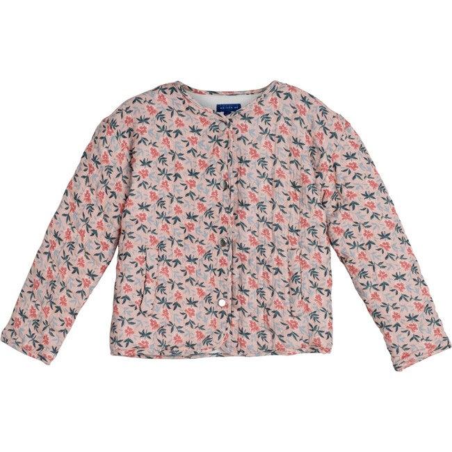 Esme Quilted Jacket, Pink Pansies