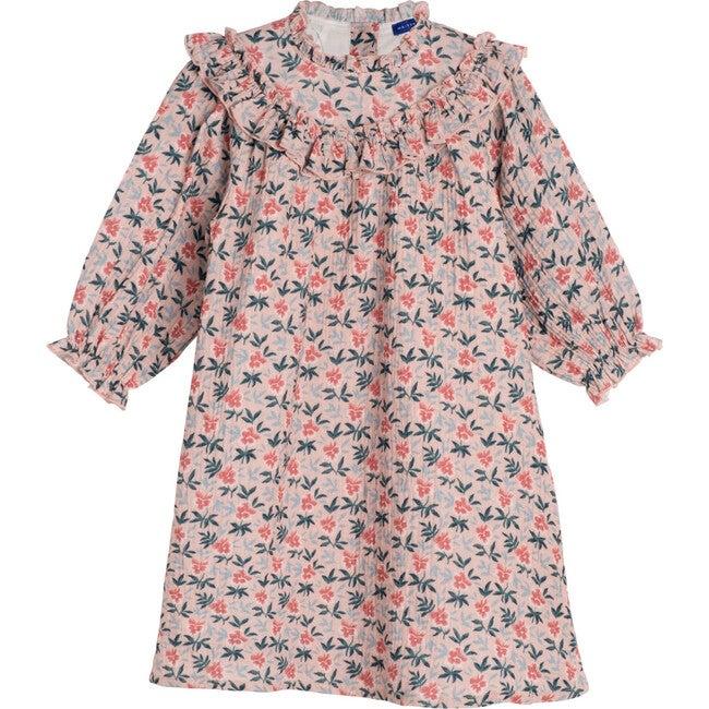 Cleo Dress, Pink Pansies